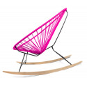 détail fauteuil bascule bois Acapulco Fuschia