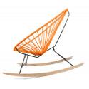 Details of orange Acapulco wood rocking chair