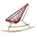 détail fauteuil bascule bois Acapulco Bordeaux