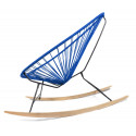 Details of Night Blue Acapulco wood rocking chair