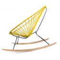 Details of Lemon Yellow Acapulco wood rocking chair