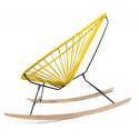 Details of Lemon Yellow Acapulco wood rocking chair