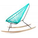 détail fauteuil bascule bois Acapulco Vert Turquoise