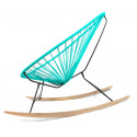 Details of Turquoise Acapulco wood rocking chair
