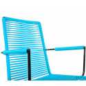 sky blue plastic thread armrest rope chair