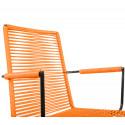 orange Dining armrest wire chair