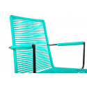 Turquoise plastic thread armrest rope chair
