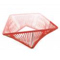 Détail table basse carré rouge